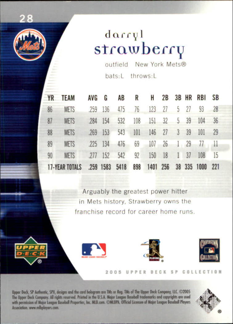 2005 SP Authentic #28 Darryl Strawberry back image
