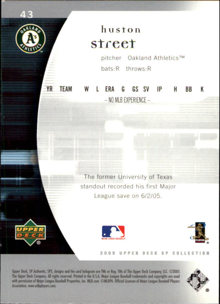2005 SP Authentic #43 Huston Street back image