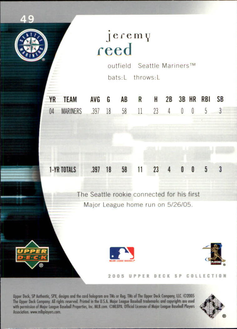 2005 SP Authentic #49 Jeremy Reed back image