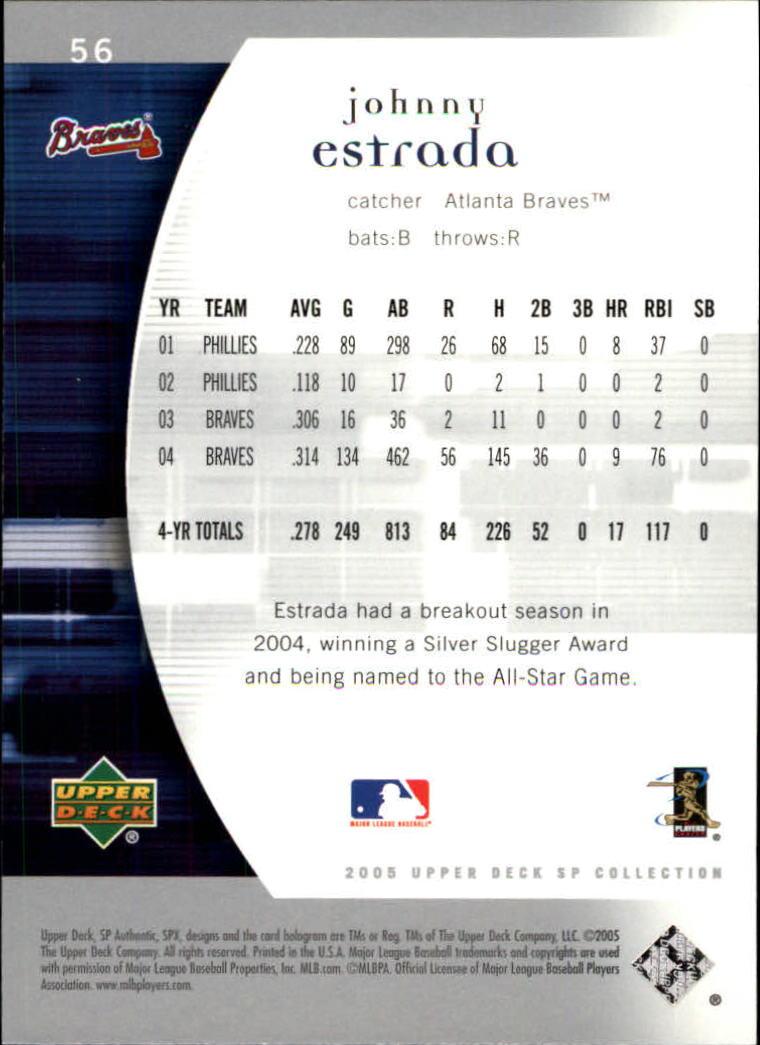 2005 SP Authentic #56 Johnny Estrada back image