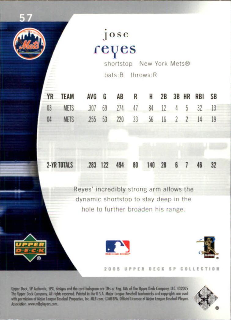 2005 SP Authentic #57 Jose Reyes back image
