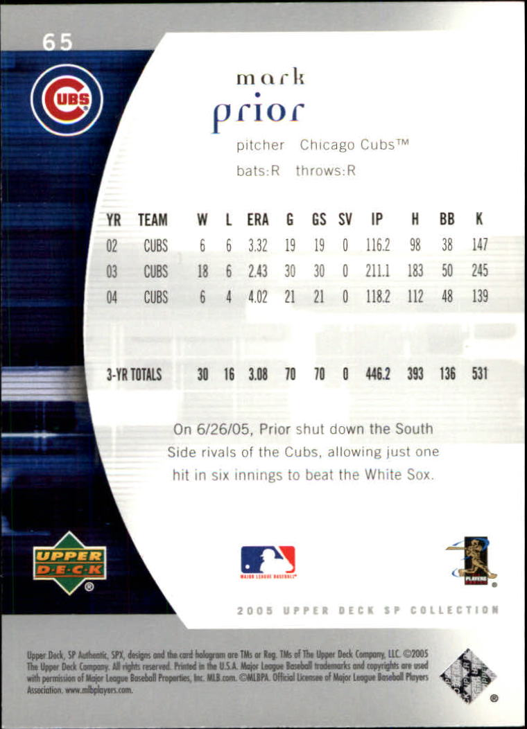 2005 SP Authentic #65 Mark Prior back image