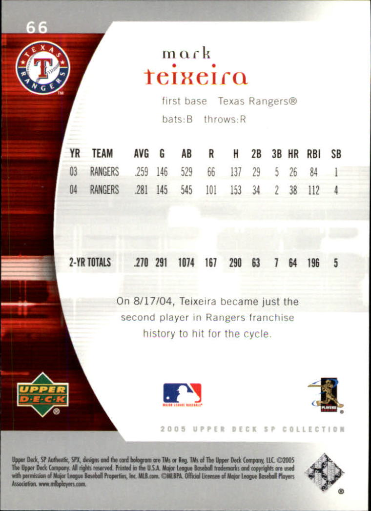 2005 SP Authentic #66 Mark Teixeria back image