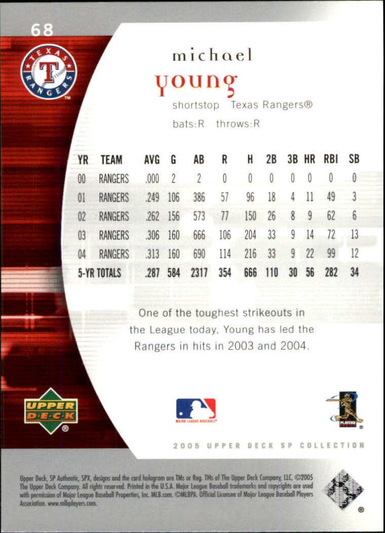 2005 SP Authentic #68 Michael Young back image