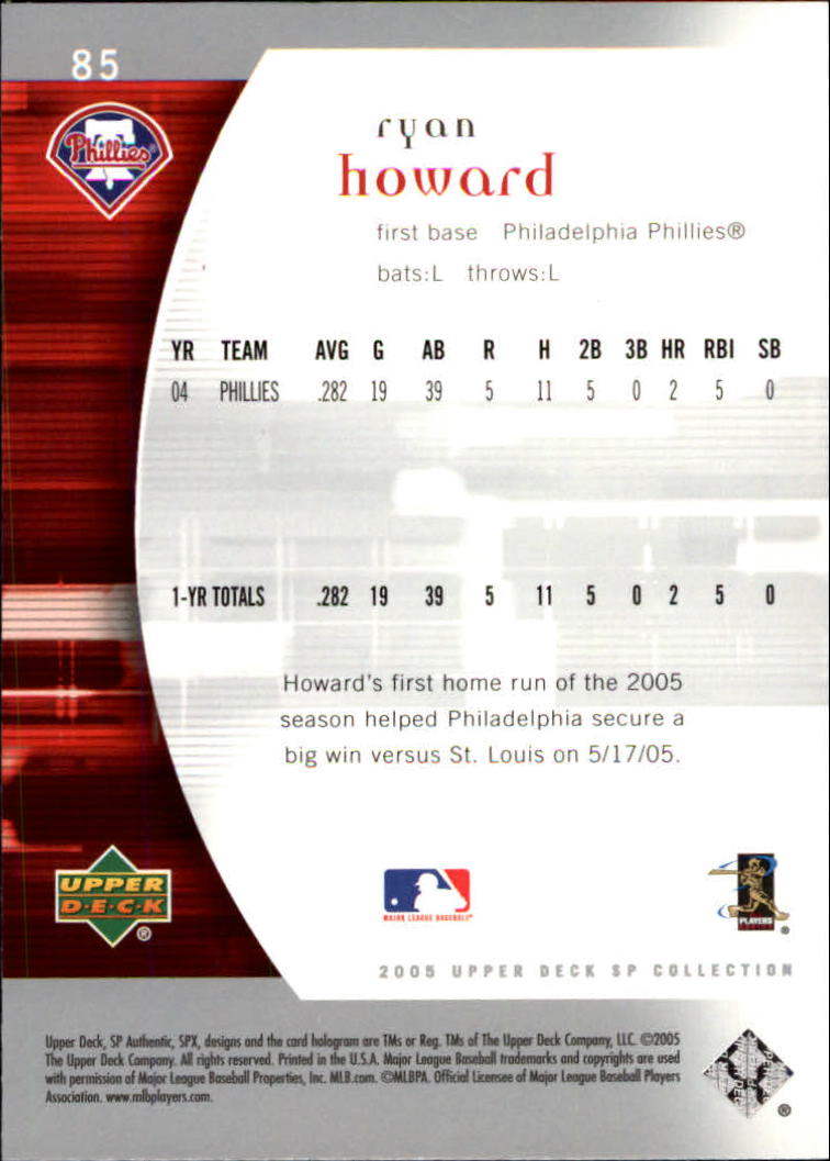 2005 SP Authentic #85 Ryan Howard back image