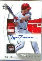 2005 SP Authentic #181 Ryan Zimmerman AU RC