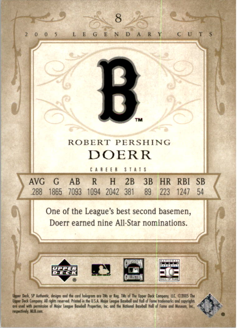 2005 SP Legendary Cuts #8 Bobby Doerr back image