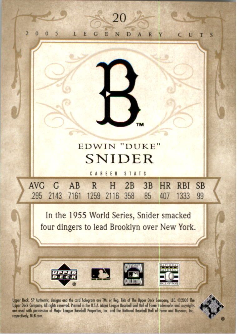 2005 SP Legendary Cuts #20 Duke Snider back image
