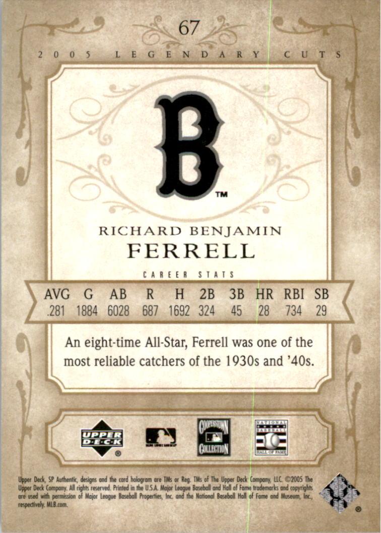 2005 SP Legendary Cuts #67 Rick Ferrell back image
