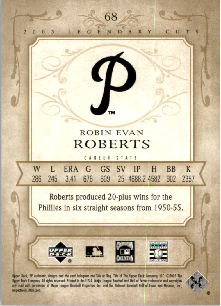 2005 SP Legendary Cuts #68 Robin Roberts back image