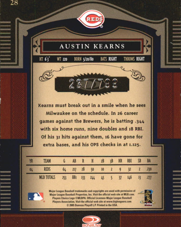 2005 Timeless Treasures #28 Austin Kearns back image