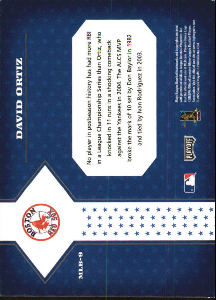 2005 Playoff Prestige Stars of MLB #9 David Ortiz back image