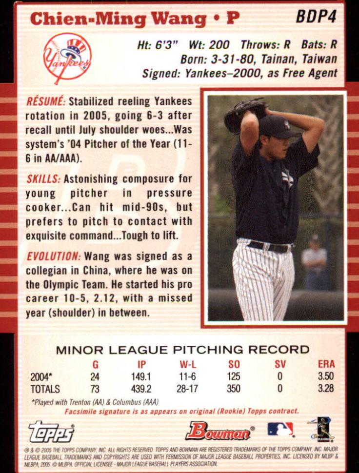 2005 Bowman Draft #4 Chien-Ming Wang back image