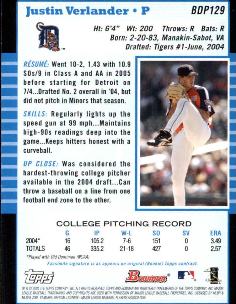 2005 Bowman Draft #129 Justin Verlander FY back image