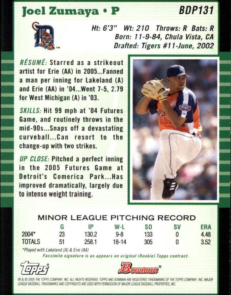 2005 Bowman Draft #131 Joel Zumaya PROS back image
