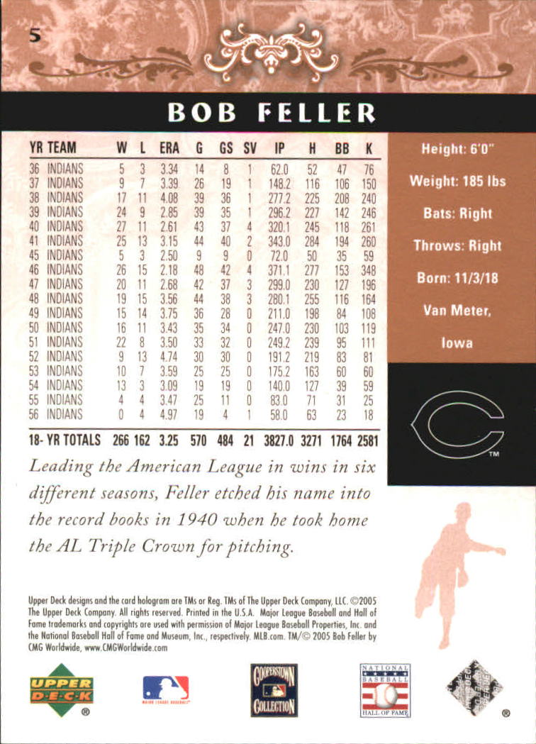 2005 Upper Deck Hall of Fame #5 Bob Feller back image
