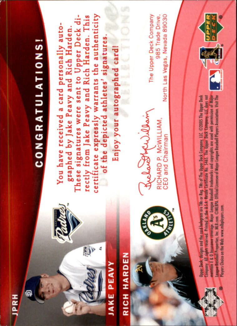 2005 Reflections Dual Signatures Red #JPRH Jake Peavy/Rich Harden back image