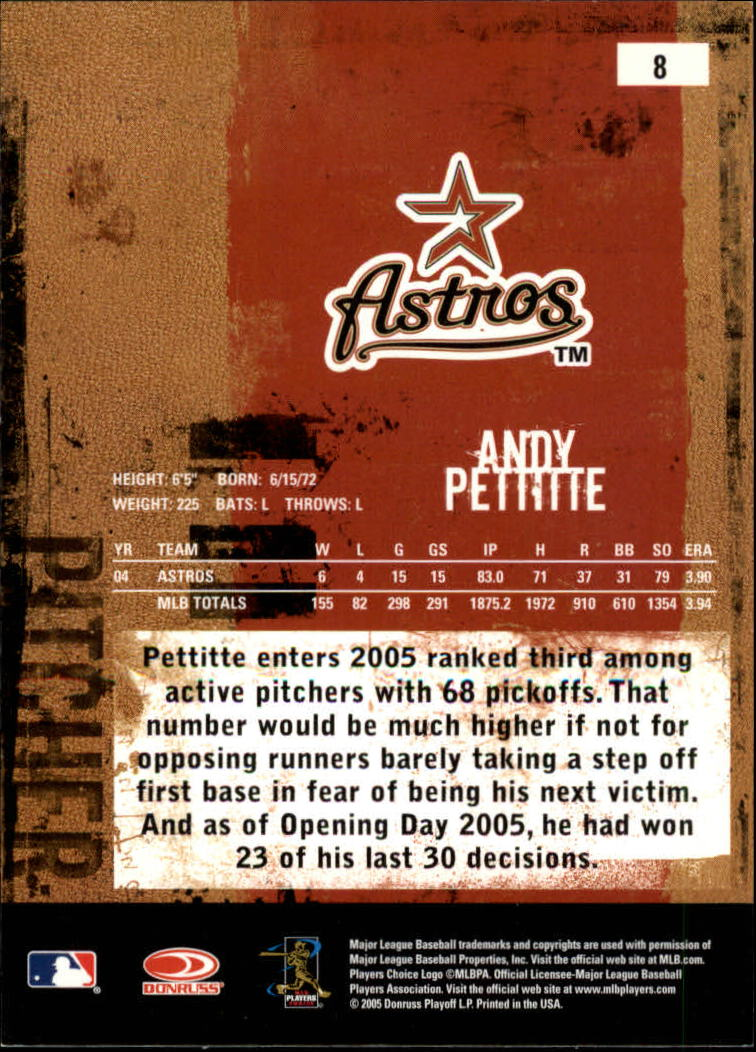 2005 Leather and Lumber #8 Andy Pettitte back image