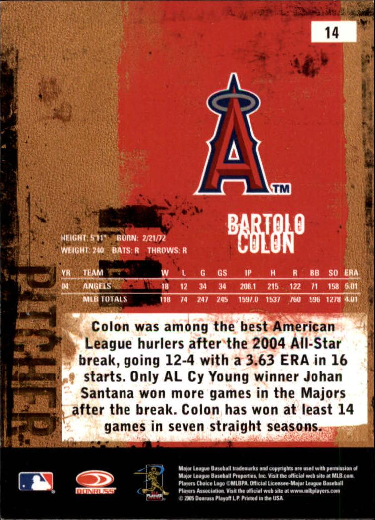 2005 Leather and Lumber #14 Bartolo Colon back image