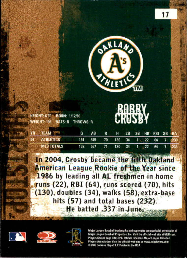 2005 Leather and Lumber #17 Bobby Crosby back image