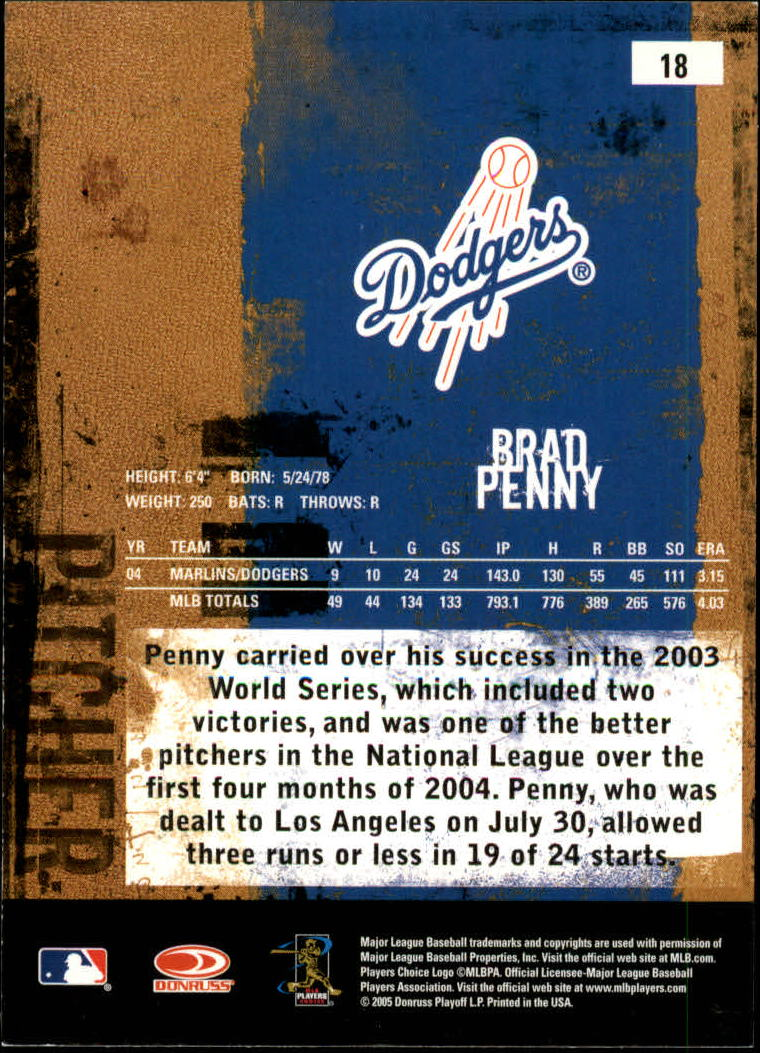 2005 Leather and Lumber #18 Brad Penny back image