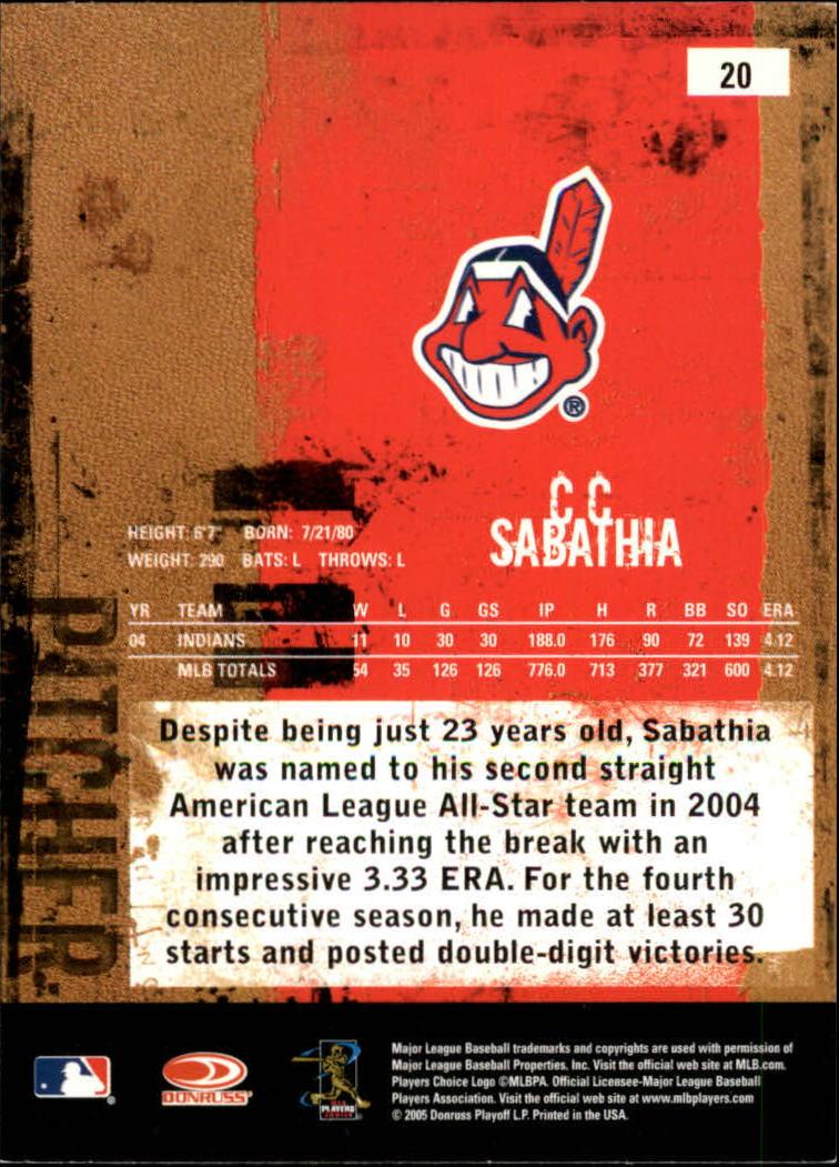 2005 Leather and Lumber #20 C.C. Sabathia back image