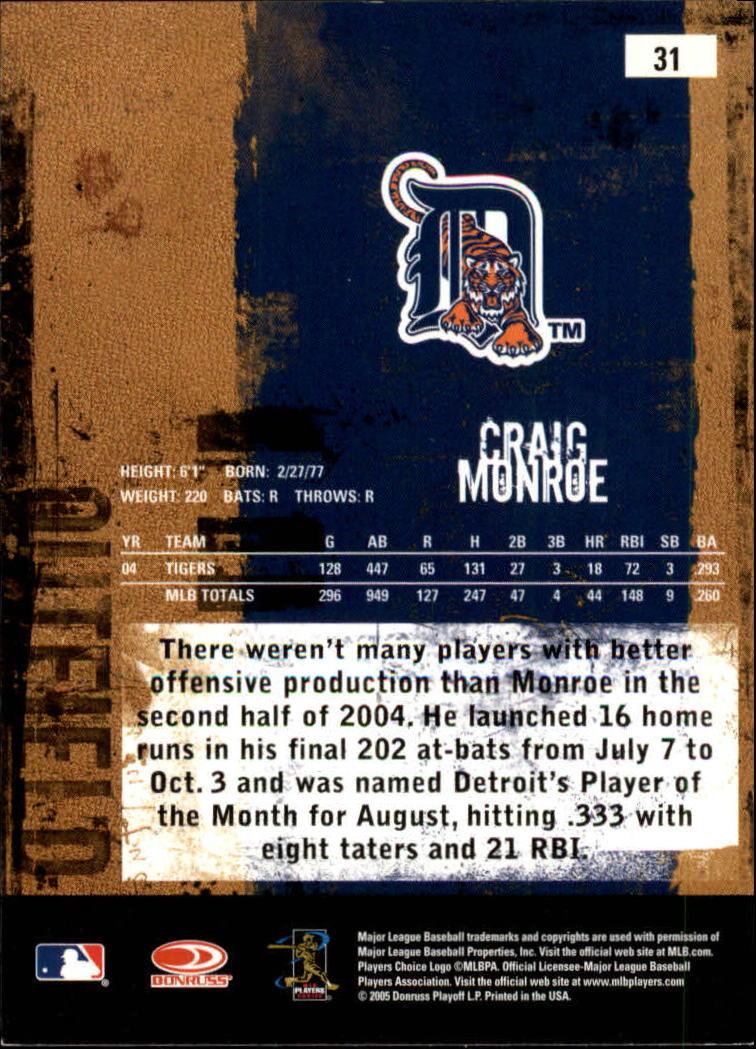 2005 Leather and Lumber #31 Craig Monroe back image
