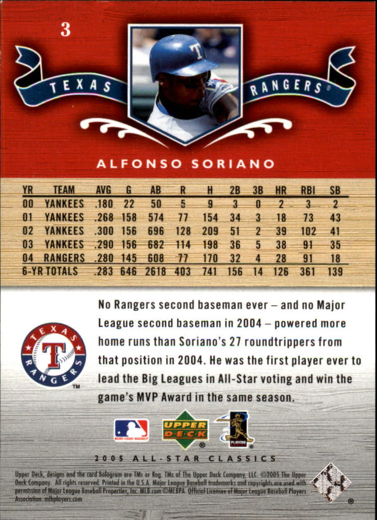 2005 UD All-Star Classics #3 Alfonso Soriano back image
