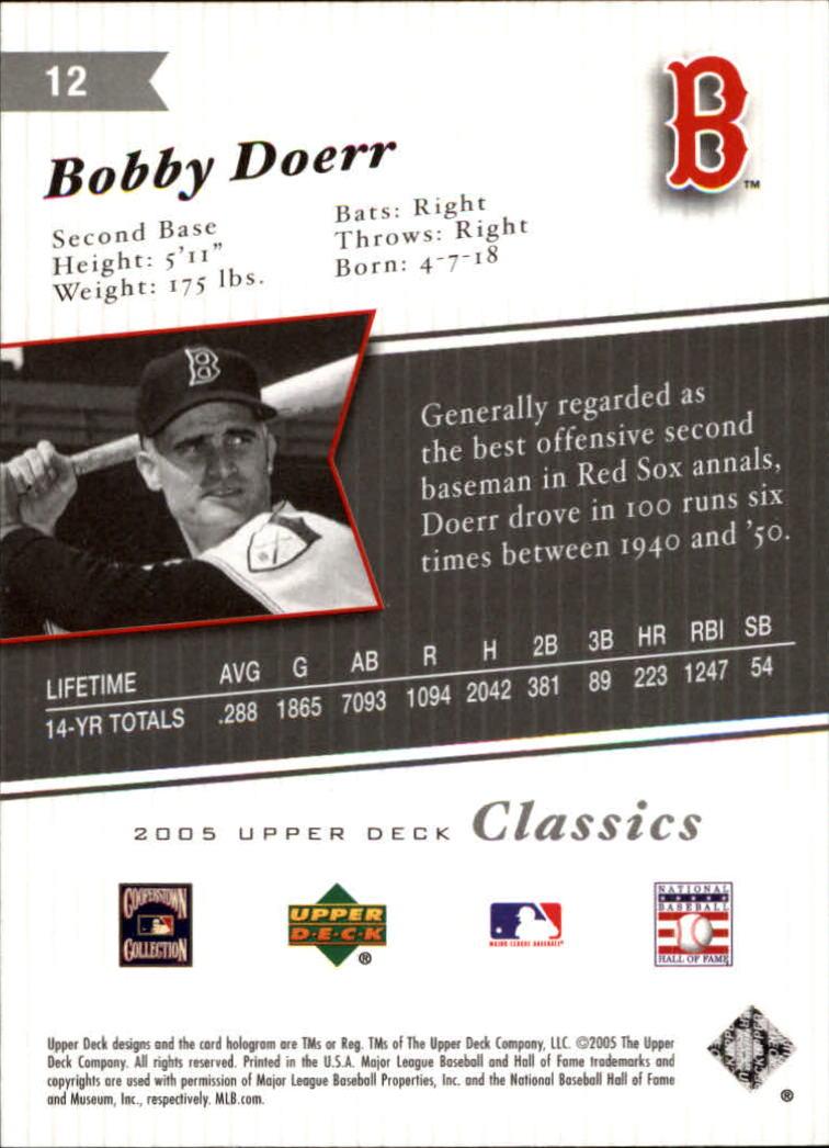 2005 Upper Deck Classics #12 Bobby Doerr back image