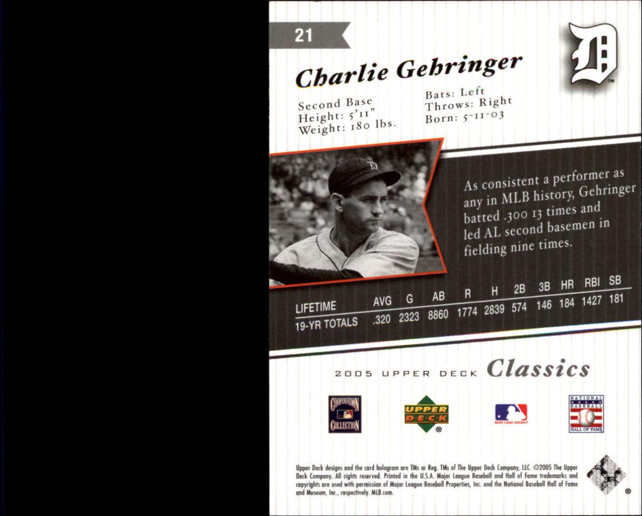 2005 Upper Deck Classics #21 Charlie Gehringer back image