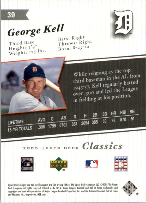 2005 Upper Deck Classics #39 George Kell back image