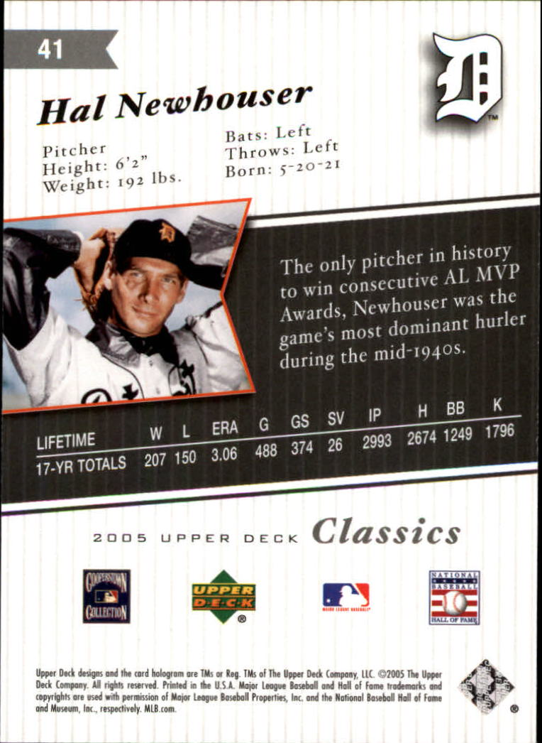 2005 Upper Deck Classics #41 Hal Newhouser back image