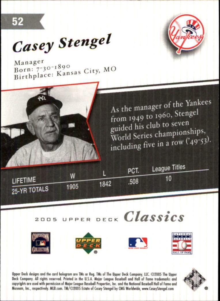 2005 Upper Deck Classics #52 Casey Stengel back image