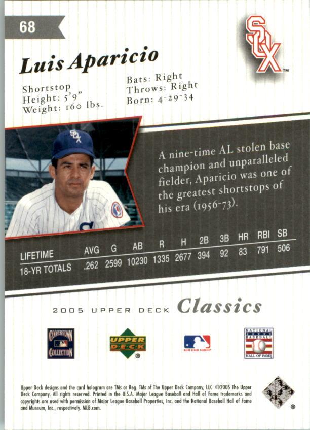 2005 Upper Deck Classics #68 Luis Aparicio back image