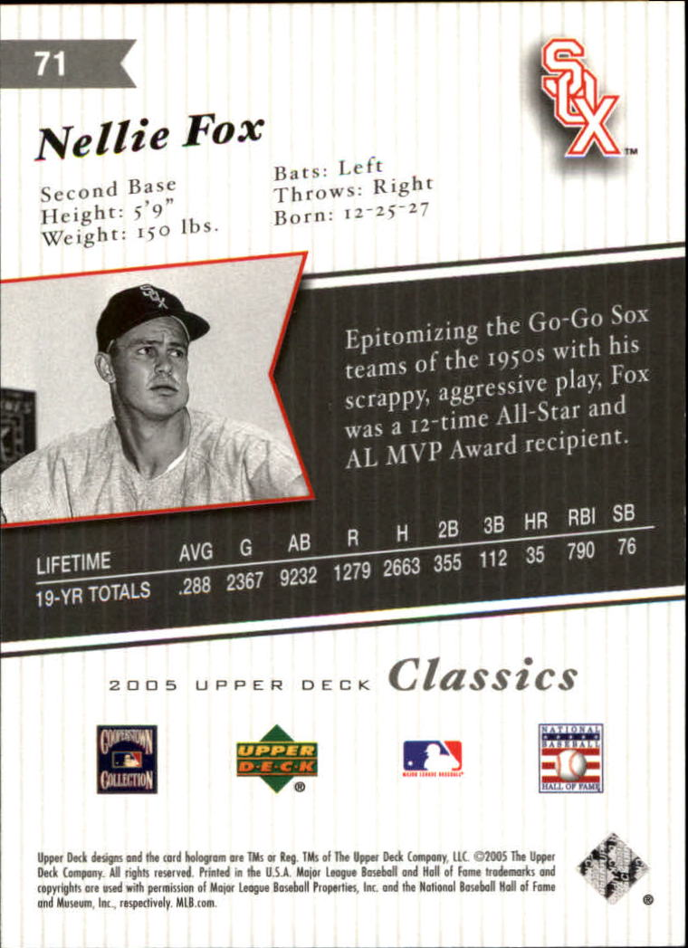 2005 Upper Deck Classics #71 Nellie Fox back image