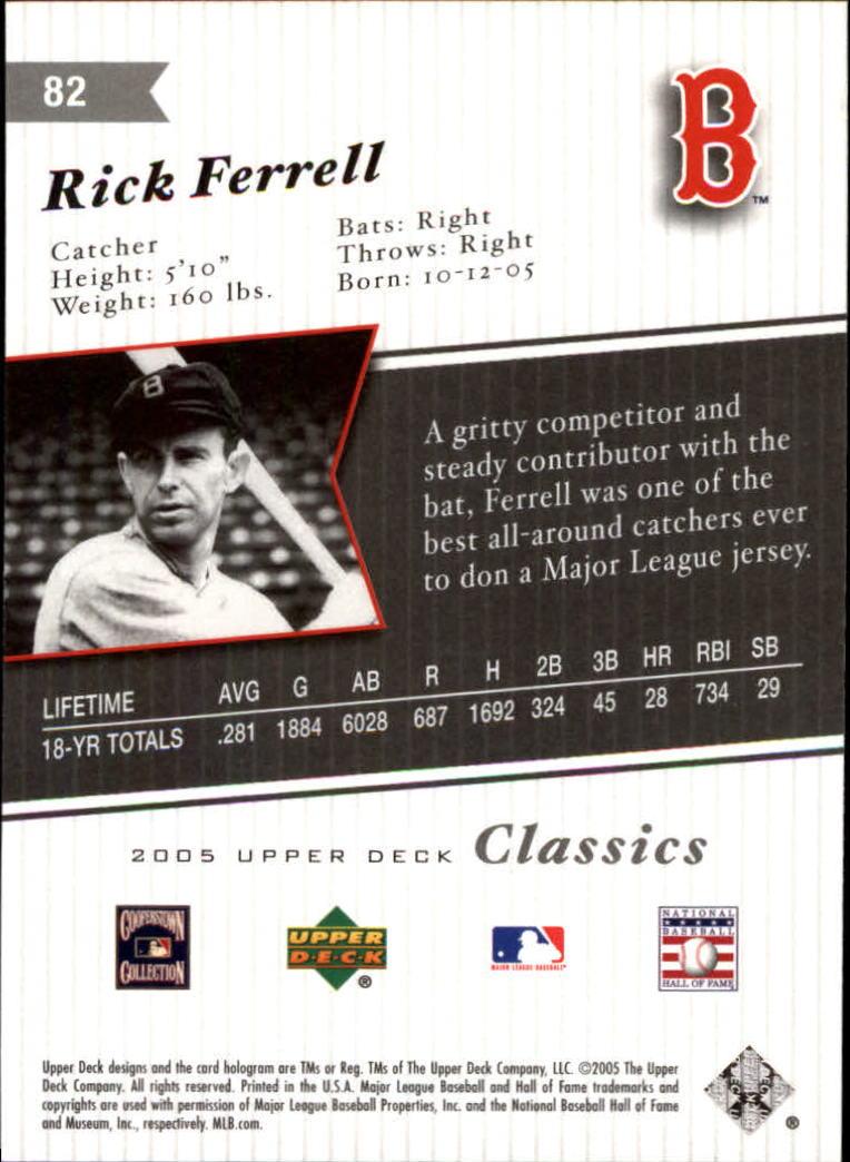 2005 Upper Deck Classics #82 Rick Ferrell back image