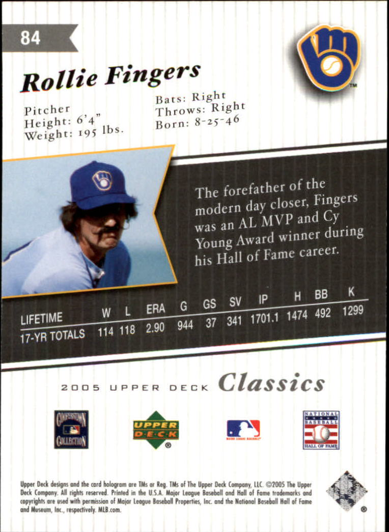 2005 Upper Deck Classics #84 Rollie Fingers back image