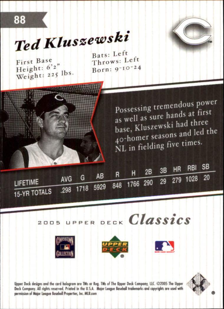2005 Upper Deck Classics #88 Ted Kluszewski back image
