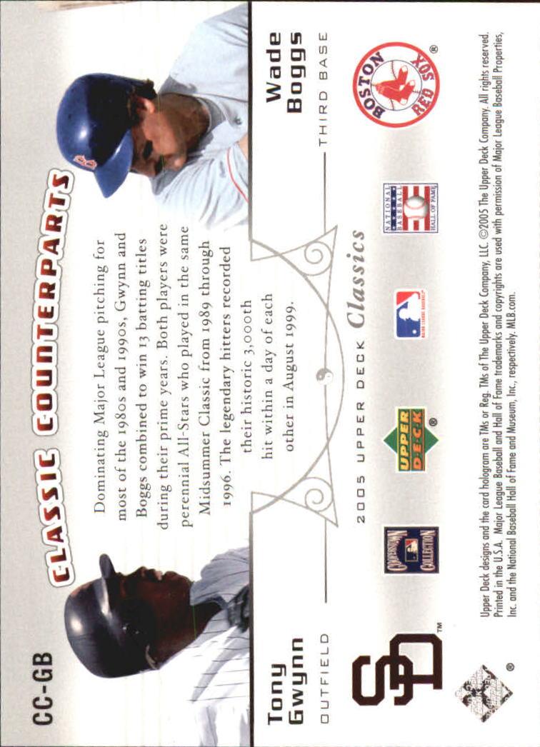 2005 Upper Deck Classics Counterparts #GB T.Gwynn/W.Boggs back image