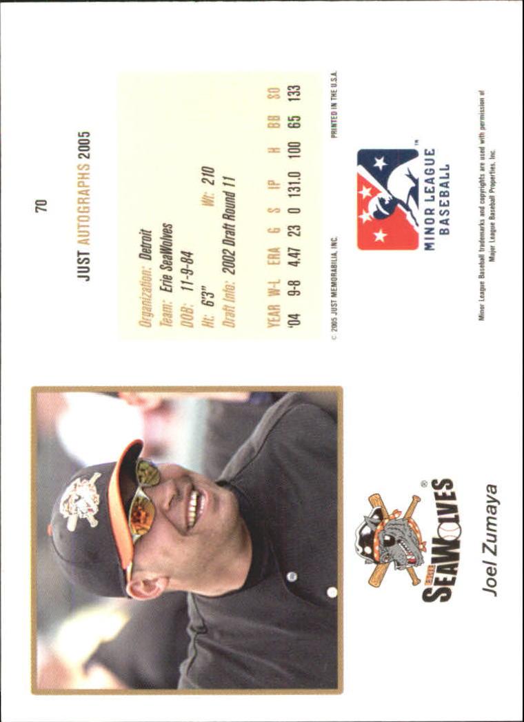 2005 Just Autographs #70 Joel Zumaya back image