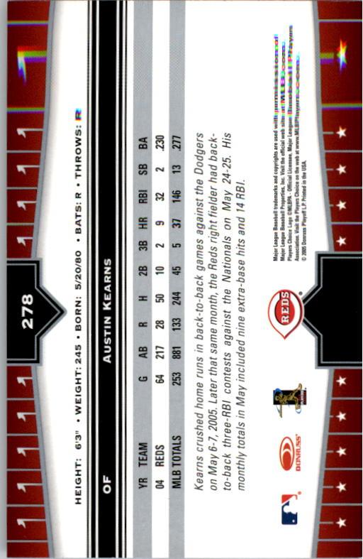 2005 Donruss Champions #278 Austin Kearns back image