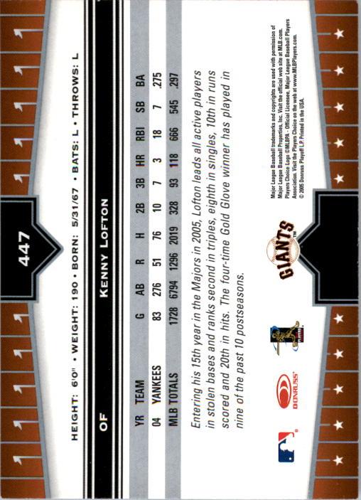 2005 Donruss Champions #447 Kenny Lofton Giants back image