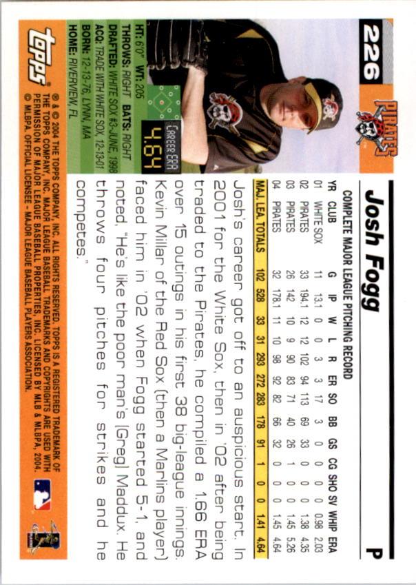 2005 Topps #226 Josh Fogg back image