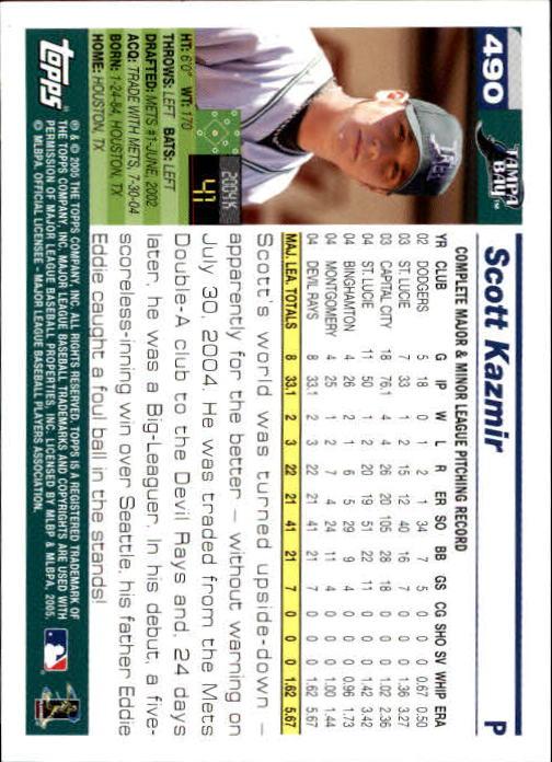 2005 Topps 1st Edition #490 Scott Kazmir back image