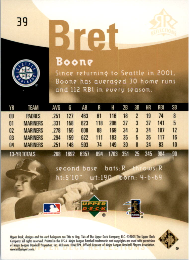 2005 Reflections #39 Bret Boone back image