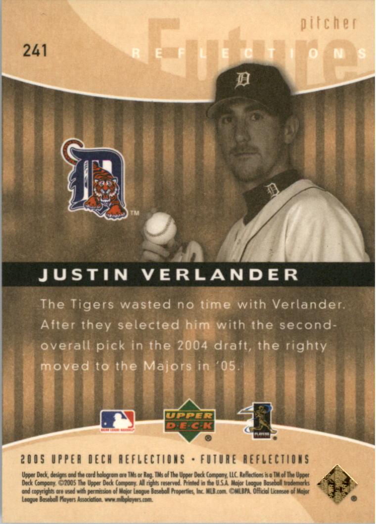 2005 Reflections #241 Justin Verlander FR RC back image