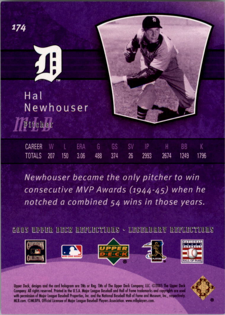 2005 Reflections Purple #174 Hal Newhouser LGD back image