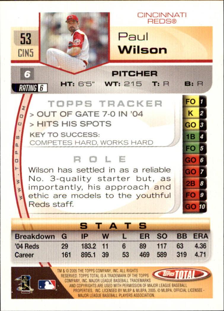 2005 Topps Total #53 Paul Wilson back image
