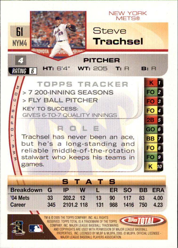 2005 Topps Total #61 Steve Trachsel back image
