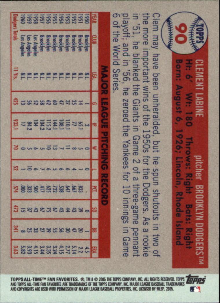2005 Topps All-Time Fan Favorites #90 Clem Labine back image